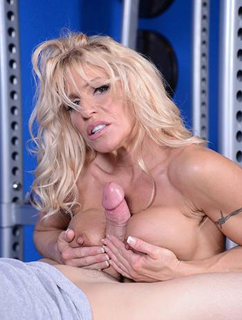 Titjob from big tits blonde milf